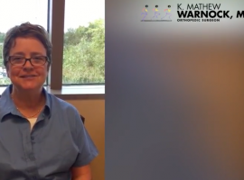 "Meniscectomy patient describes Dr. Warnock and his staff as ""amazing, amazing, caregivers!"""
